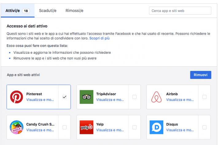 Togliere i permessi alla app e giochi di Facebook